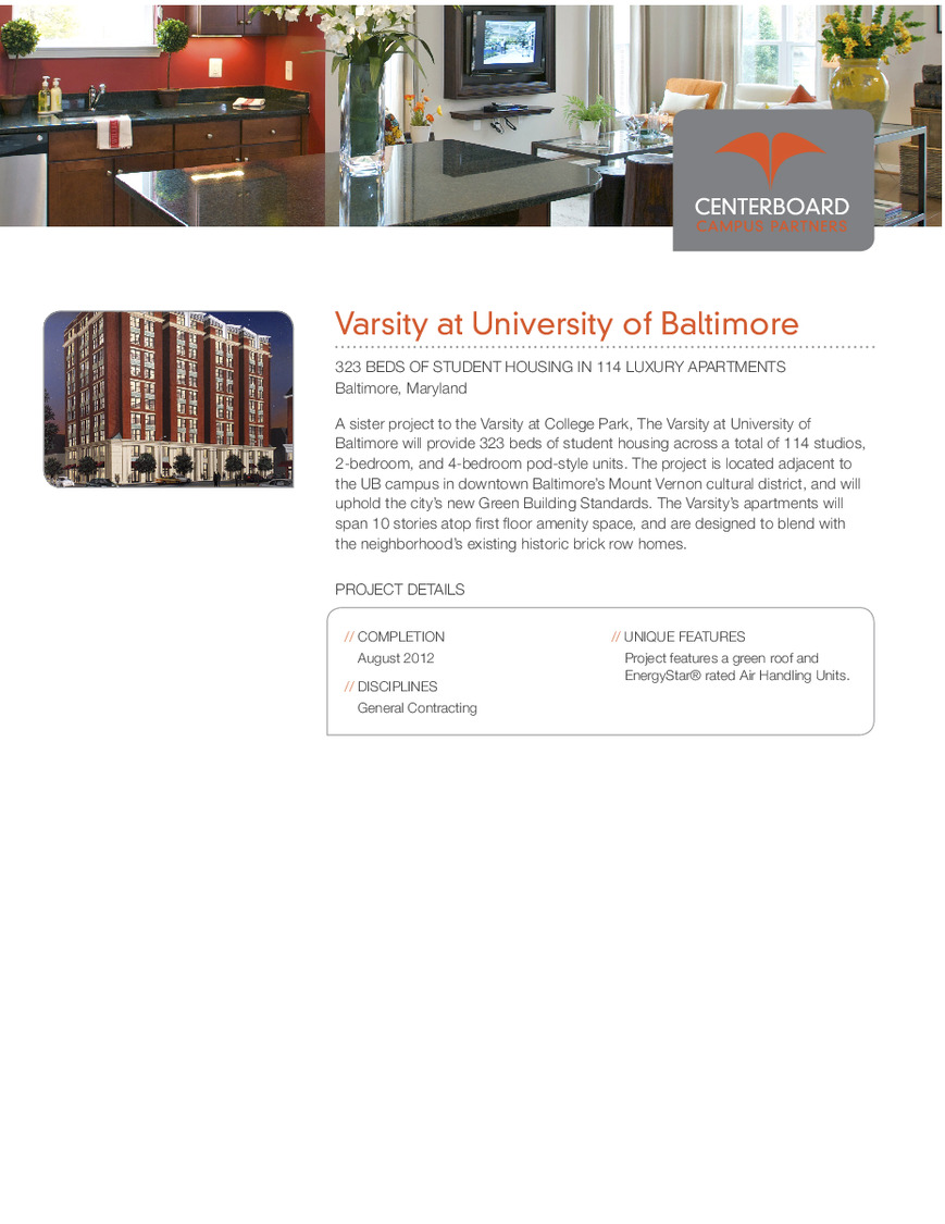 CBG builds Varsity at University of Baltimore, a 11-Story, 323-Bed Student Housing Community with 114 Luxury Apartment Units in Baltimore, MD - Image #2