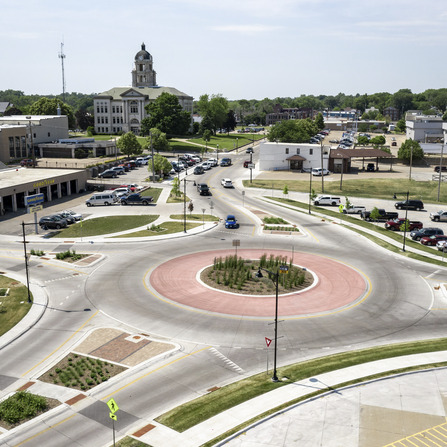 Image of Mulberry Avenue Roundabout and 2nd Street One-Way to Two-Way Conversion, City of Muscatine, Iowa