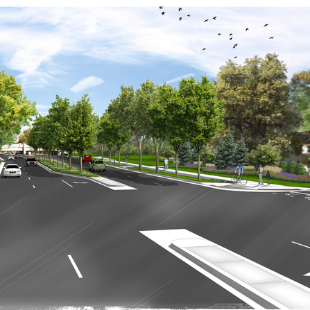 Project shot of 66th Street Streetscape