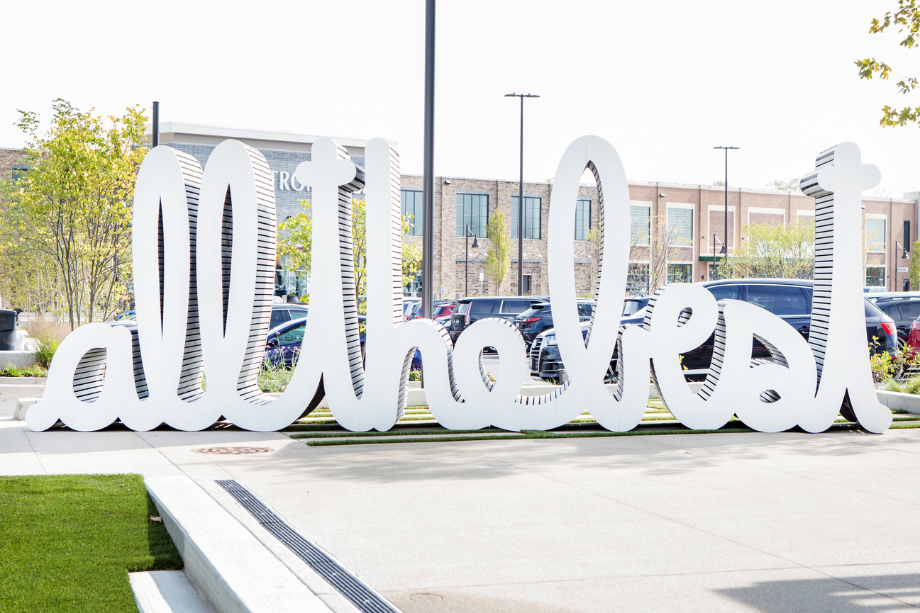 "large outdoor word sculpture that reads ""all the best"""
