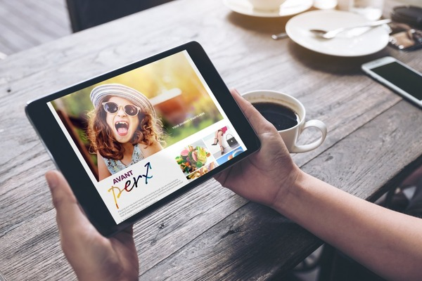 Smart tablet with Avant Perx on screen