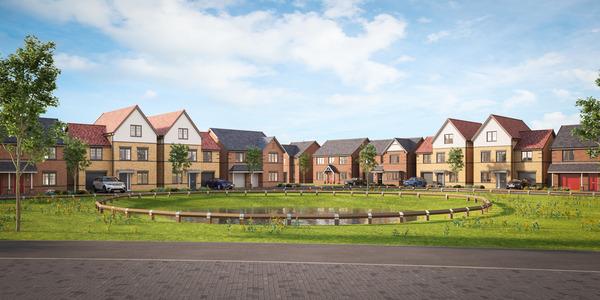 CGI street scene of Avant Homes Trinity Fields in Retford