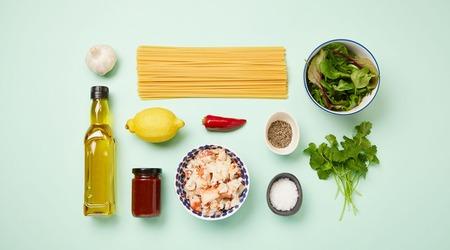 Image of ingredients to make crab linguine